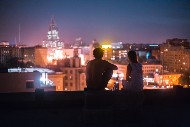 boy and girl in summer night