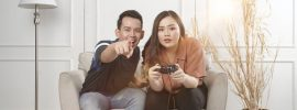 couple playing game